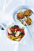 Farmer's salad with vegetable cakes