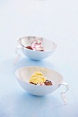 Ice cream in bowls with handles