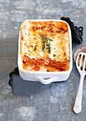 Lasagne mit Kürbis in Auflaufform