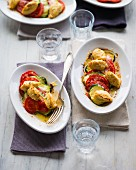 Ricotta dumplings on vegetables