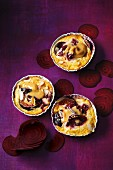 Almond clafoutis with beetroot and figs