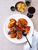 Quails with almonds, braised quinces and pilau rice