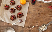 Mini chocolate Bundt cakes with chilli peppers and orange zest