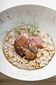Duck on a bed of risotto