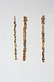 Verschiedene Getreidekörner in drei Reihen nebeneinanderliegend