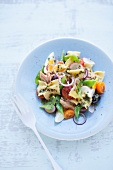 Mediterranean pasta salad with farfalle, tuna fish, egg and vegetables