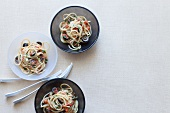 Spaghetti with anchovies and black olives