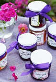 Jars of homemade jam as guest gifts