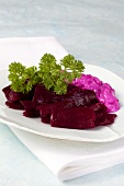 Beetroot salad and beetroot sauce with onions