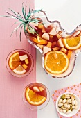 Sangria with oranges (seen from above)