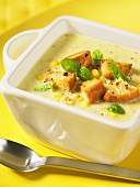 Corn soup with croutons