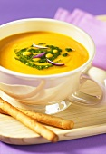 Sweet potato soup with coconut milk and ginger