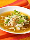 Vietnamese noodle soup with shrimps