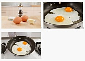 Fried eggs being made