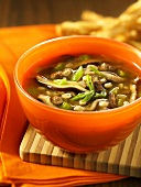 Beef soup with barley and mushrooms