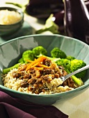 Couscous with beef and aubergine ragout