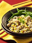 Sausage with corn, wild rice and green beans