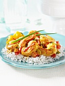 Seafood curry on basmati rice