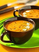 Cups of tomato soup with wild rice