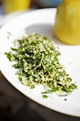 Gremolata (a herb mixture with lemon zest and garlic)