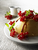 Apricot and yoghurt jelly with honey and redcurrants