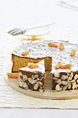Carrot cake decorated with marzipan carrots