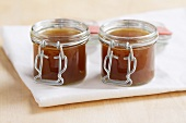 Demi glace (basic brown sauce) in jars