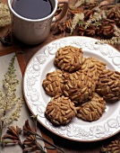 Pignoli Cookies with a Cup of Coffee