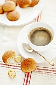 Almond biscuits and a cup of coffee