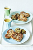 Heart-shaped French toast with fried banana slices