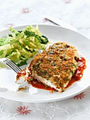 Chicken breast with a herb crust