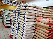 Various sacks of rice in a supermarket in Thailand
