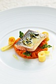 Poached Alpine salmon on a bed of oven baked squash