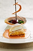 Vanilla pancakes with quince sauce and a meringue topping