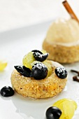 Hazelnut savarin with grapes
