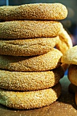 A stack of sesame rings