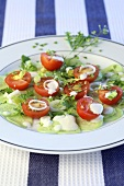 A tomato and cucumber salad with capsella