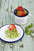 Strawberries with pistachio sugar