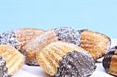 Madeleines with chocolate glaze