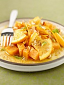 Sweet potato salad with orange slices