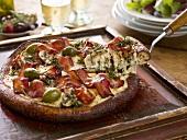 Bacon, Caper and Mushroom Pizza