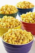 Colorful Bowls of Macaroni and Cheese