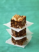 Three Pieces of Chocolate Toffee Fudge; Stacked