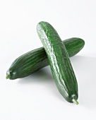 Two cucumbers (Cucumis Sativus) on a white surface