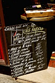 Tapas written on a blackboard