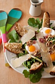 Salad with Arugula, Prosciutto, Fried Egg, Walnuts, Parmesan and Cheese Toasts
