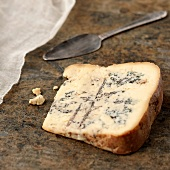 Wedge of Blue Cheese; Knife