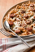 Mediterranean-Style Mac and Cheese with Spicy Italian Sausage, Whole-Wheat Penne, Sun-Dried Tomatoes and Asiago Cheese
