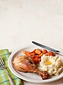 Roast Chicken Leg with Roast Carrots and Mashed Potatoes with Butter