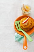 Potato and pumpkin cakes with home-made apple sauce